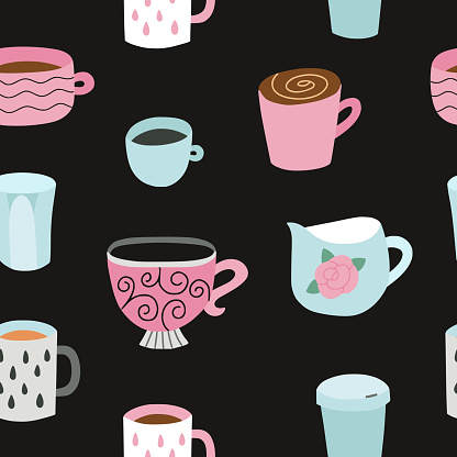Cup vector pattern. Seamless background with cute cups. Coffee mugs seamless pattern