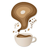 Cup of coffee with milk isolated on white background. 3d cup of coffee with shadows. Template for menu, card, banner, poster, flyer. Vector stock illustration.