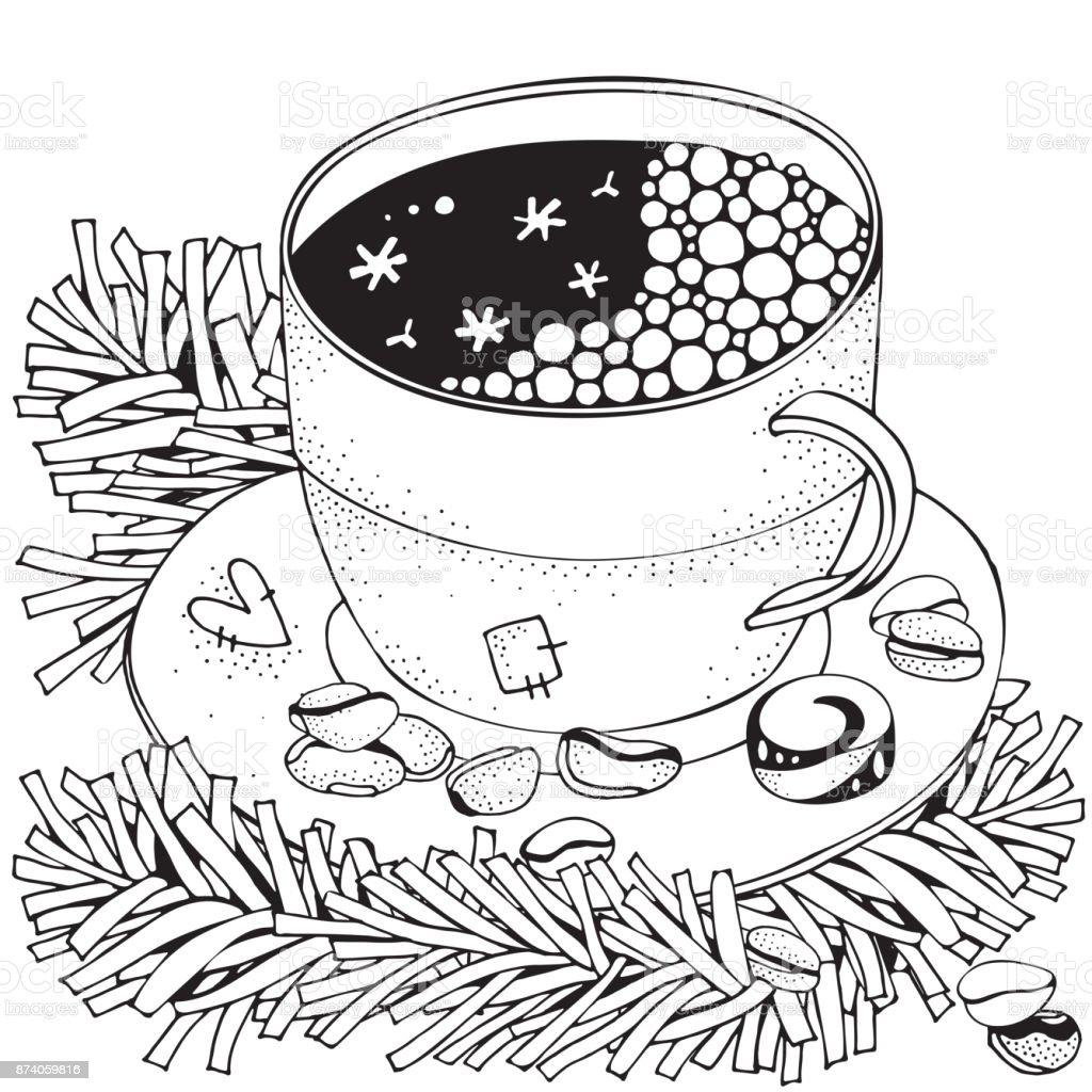 Ilustración De Taza Con Café Caliente Adultos Página De