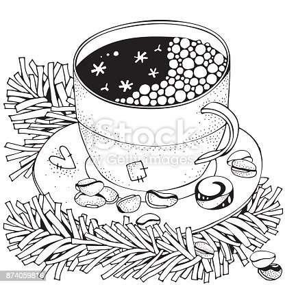 istock Taza con café caliente. Adultos página de libro para colorear ...