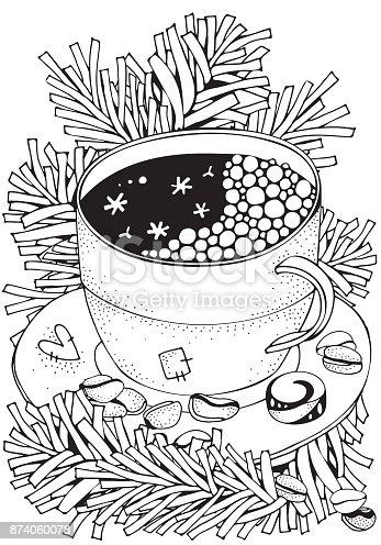 ᐈ Imagen De Taza Con Café Caliente Adultos Página De Libro
