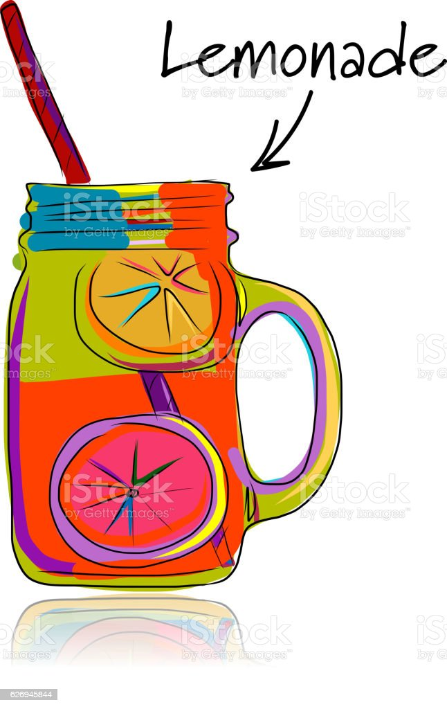 Cup With Lemonade Sketch For Your Design Stock Illustration - Download  Image Now