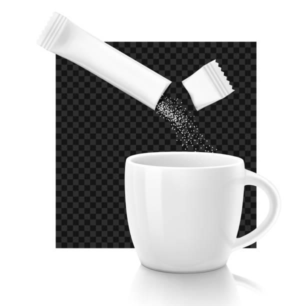ilustrações de stock, clip art, desenhos animados e ícones de cup with package stick. - café solúvel