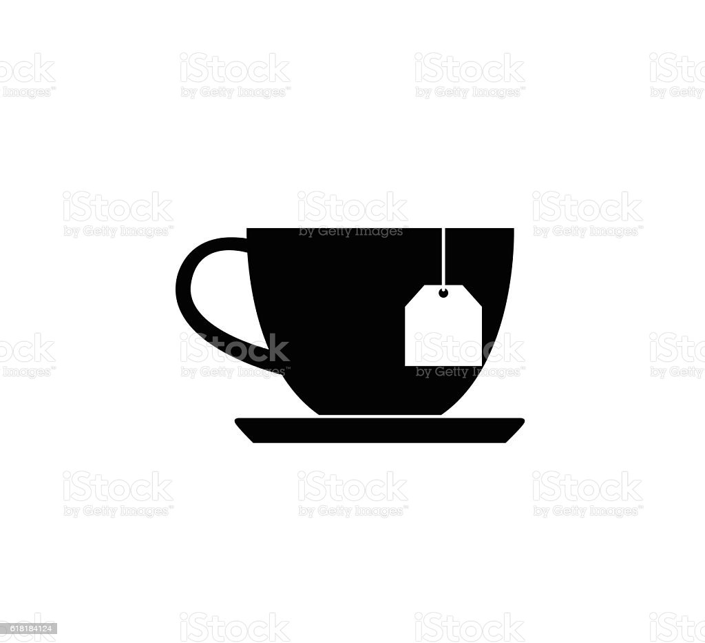 cup with tea bag icon vector art illustration