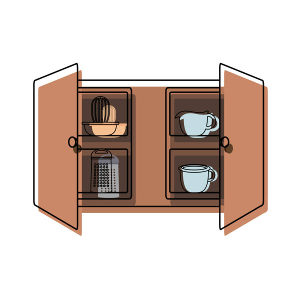 Royalty Free Open Kitchen Cabinet Clip Art, Vector Images ...