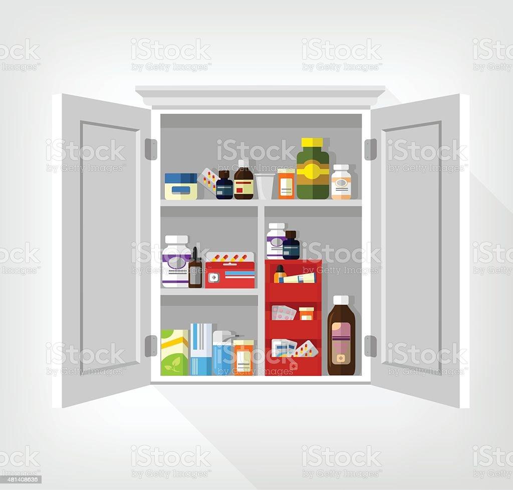 Cupboard with medicines. Vector flat illustration vector art illustration