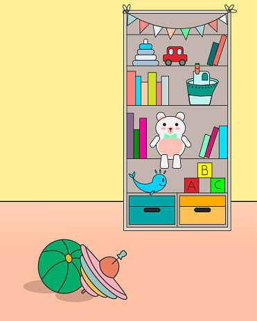 A cupboard with toys and books