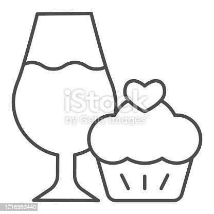 istock Cupcake and a glass of wine thin line icon. Wineglass with sweet muffin dessert outline style pictogram on white background. Winery signs for mobile concept and web design. Vector graphics. 1216982440