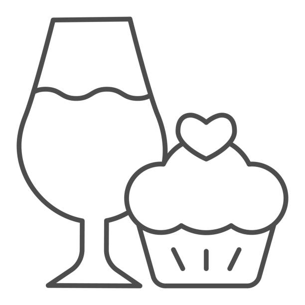 Cupcake and a glass of wine thin line icon. Wineglass with sweet muffin dessert outline style pictogram on white background. Winery signs for mobile concept and web design. Vector graphics. Cupcake and a glass of wine thin line icon. Wineglass with sweet muffin dessert outline style pictogram on white background. Winery signs for mobile concept and web design. Vector graphics anniversary clipart stock illustrations