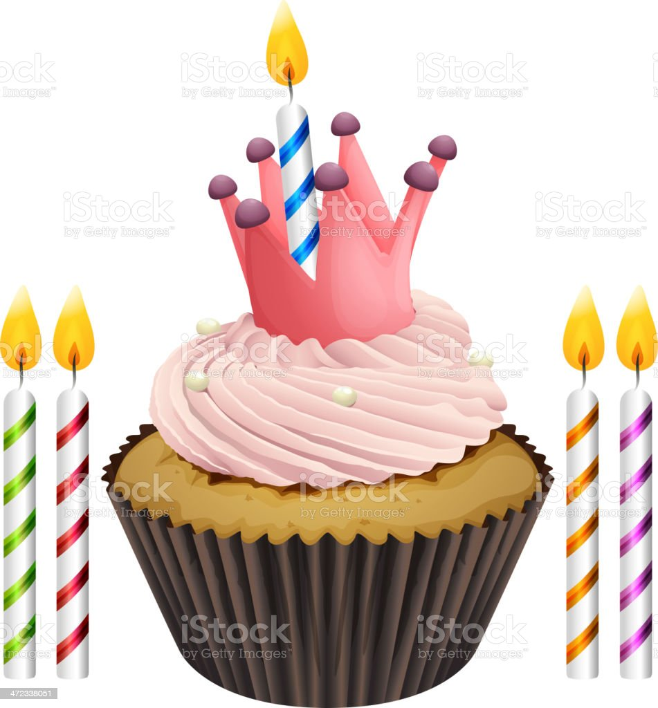 cupcake and candles royalty-free stock vector art