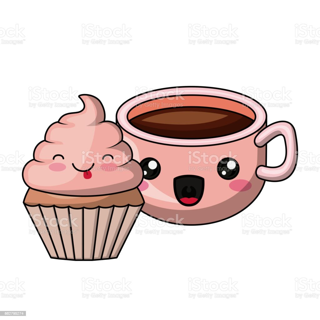 cupcake and coffee character isolated icon design - Royalty-free Art stock vector