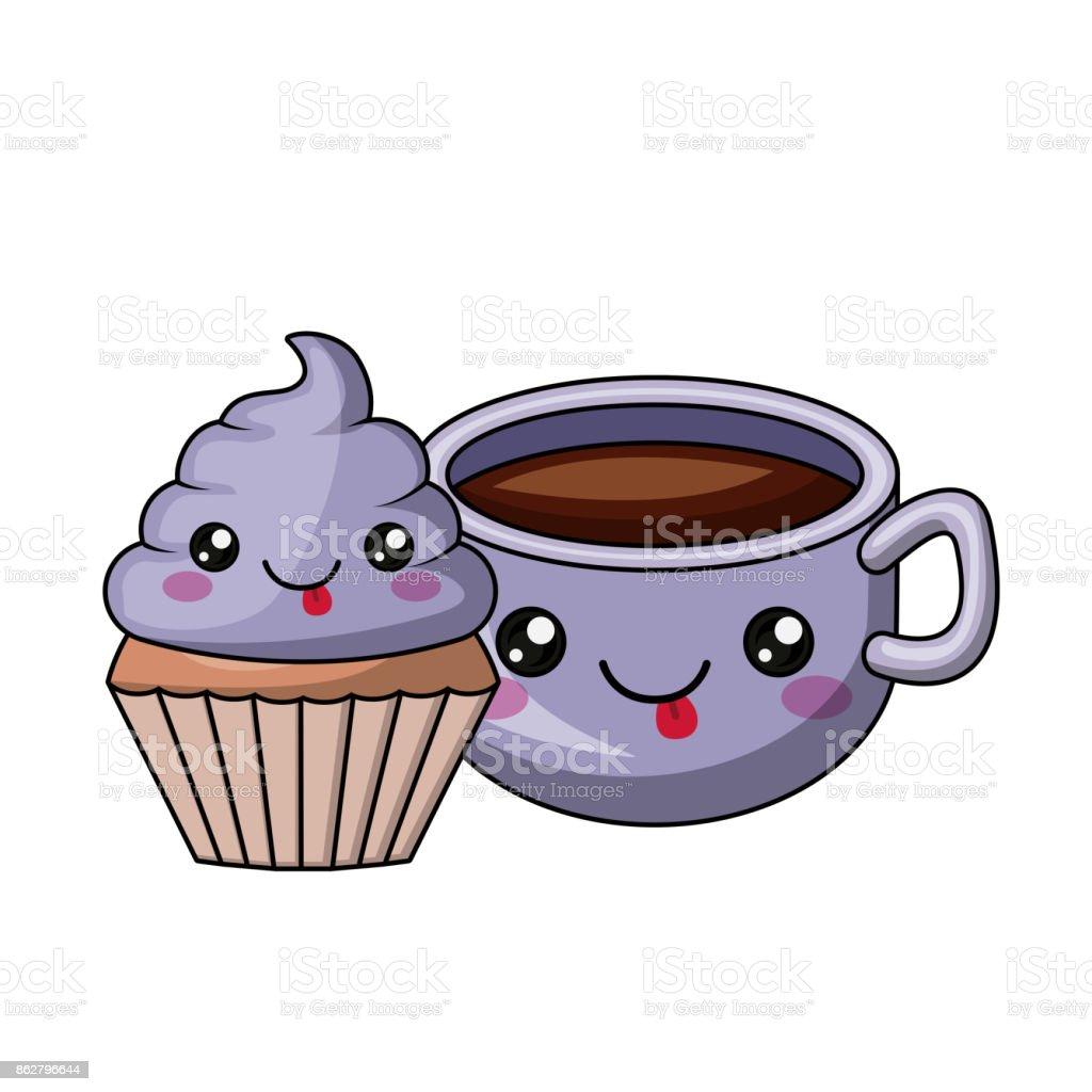 Kuchen Und Kaffee Charakter Isoliert Icondesign Stock Vektor Art Und