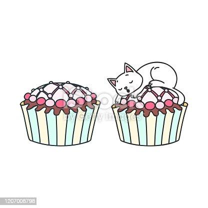Cupcake and kitten