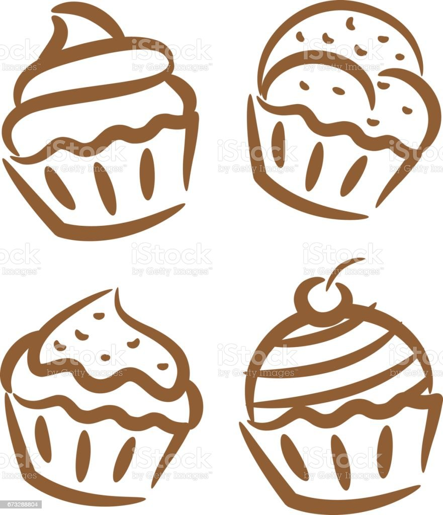 Cupcake And Muffin Icon Stock Illustration Download Image