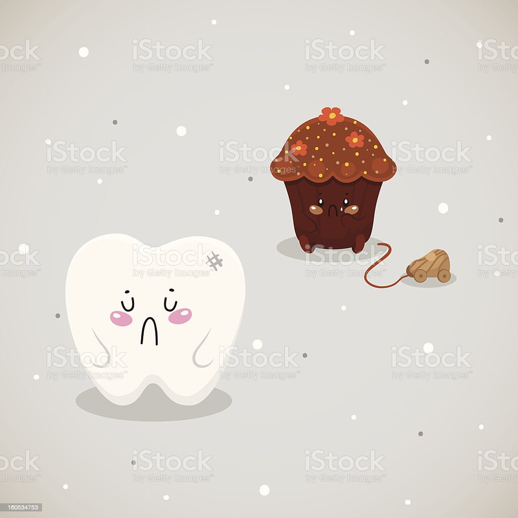 Cupcake and tooth royalty-free stock vector art