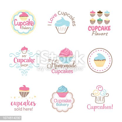 Cupcake icon sets to use for bakery signs, labels and websites