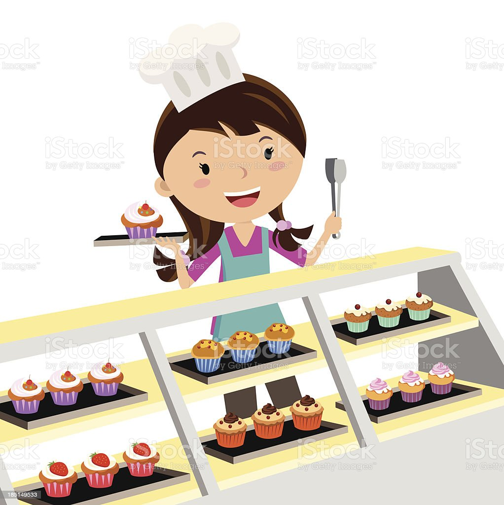 Cupcake bakery vector art illustration