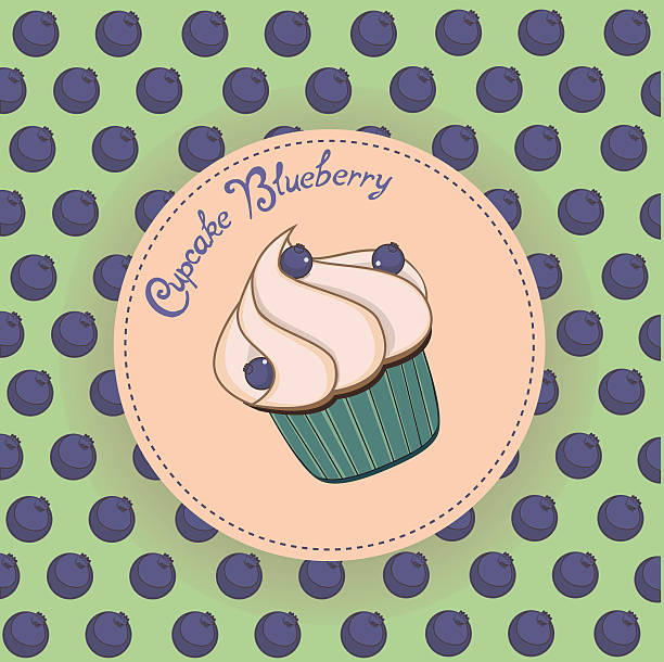 cupcake blueberry pattern vector vector art illustration