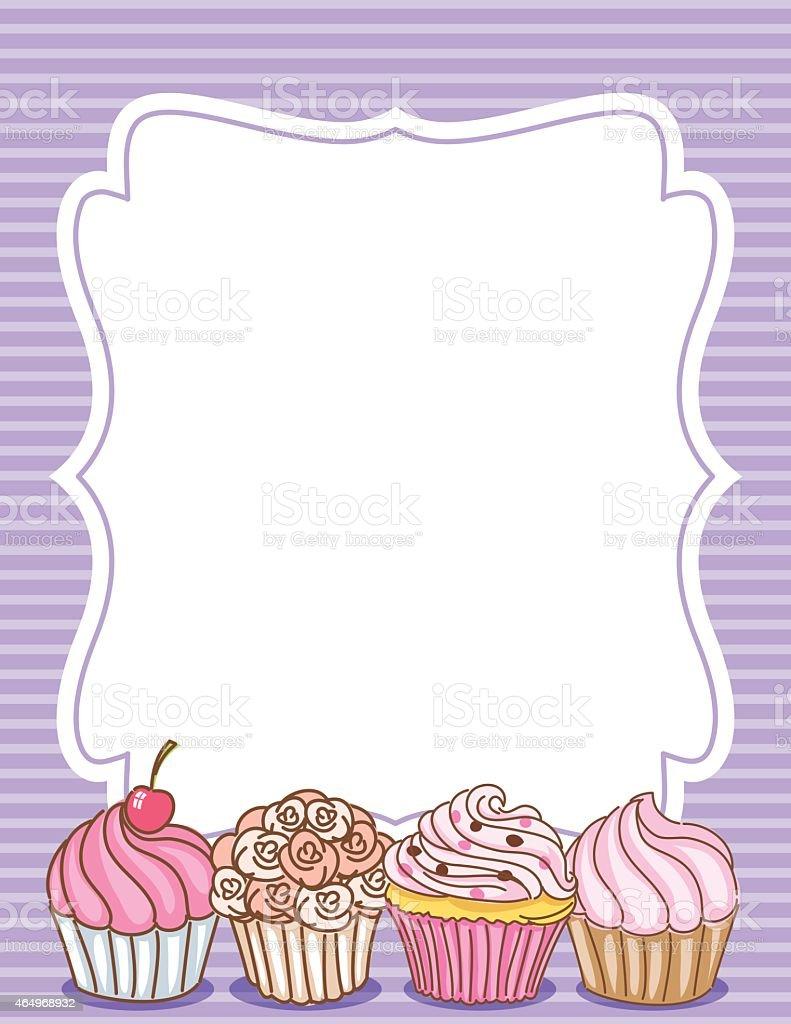Cupcake Border Invitation Background Purple Stock Vector