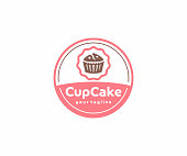 Cupcake circle emblem design. Muffins with berries vector design. Sweet bakery illustration
