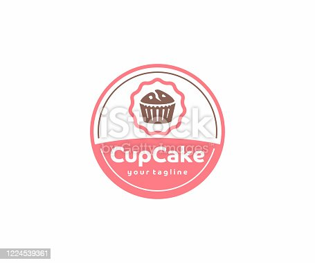 istock Cupcake circle emblem design. Muffins with berries vector design. Sweet bakery illustration 1224539361
