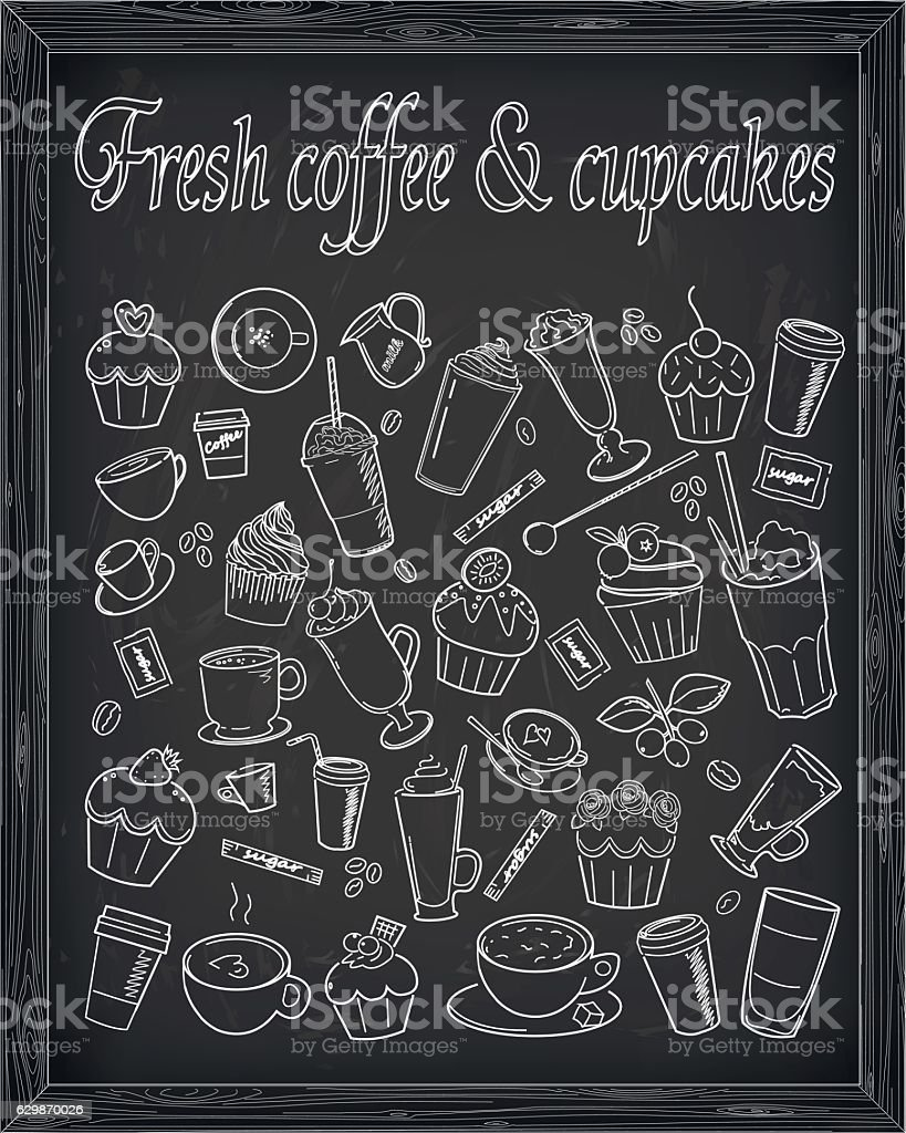 Cupcake coffee latte cup cake  sign signboard vector line illustration vector art illustration