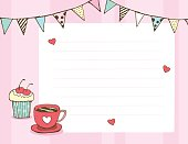 pastel color Cupcake coffee message board with bunting