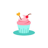 Cupcake decorated with heart and cherry icon. Muffin with heart image. Flat style pictogram isolated on white. Love symbol, logo sign. Valentine s Day vector illustration.