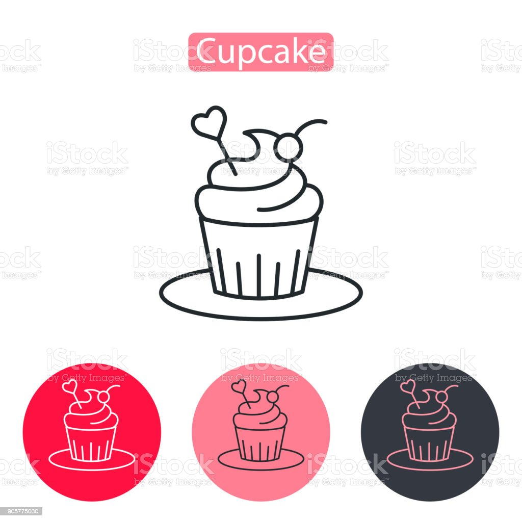 Cupcake decorated with heart icon. vector art illustration