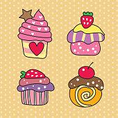 Cupcake design on pastel polka dot background. Pastry collection of cakes. Polka dot background.