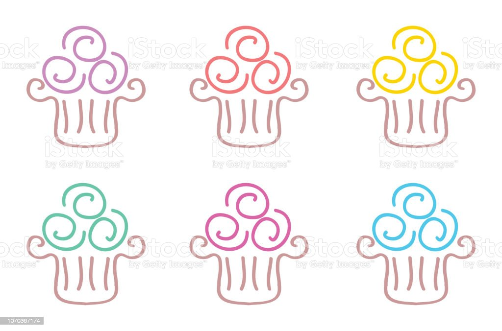 Cupcake Doodle Icons vector art illustration