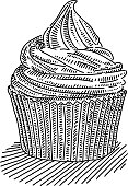 Line drawing of Cupcake. Elements are grouped.contains eps10 and high resolution jpeg.