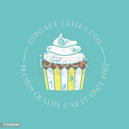 Cupcake Eaters Club Retro Vector Badge or Stamp