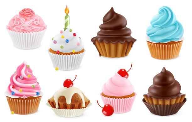 babeczka, ciasto bajkowe. 3d realistyczny zestaw ikon wektorowych - ciasto stock illustrations
