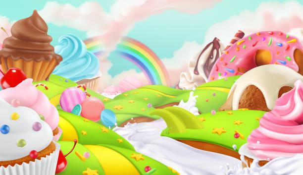 蛋糕, 童話蛋糕。甜美的風景, 3d 向量背景 - 陸地 幅插畫檔、美工圖案、卡通及圖標