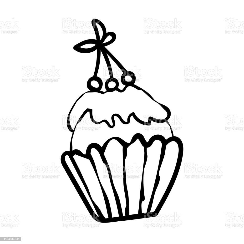 Cupcake From The Confectionery Cafeteria Sweet Pastries For Birthday Christmas New Year Baby Shower Coloring Page Vector Vector Illustration Stock Illustration Download Image Now Istock