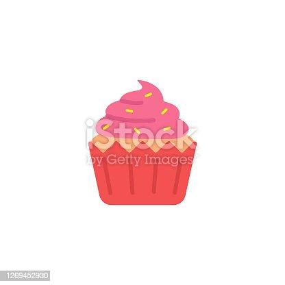 istock Cupcake Icon Flat Design. 1269452930