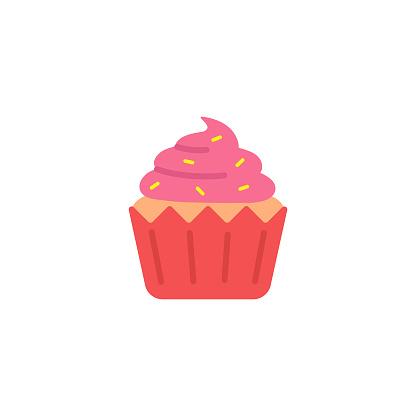 Cupcake Icon Flat Design.