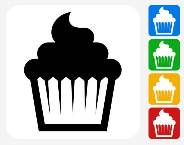 cupcake icon flat graphic design - cupcake stock illustrations, clip art, cartoons, & icons
