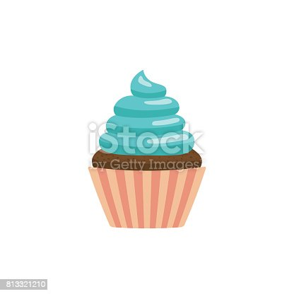Cupcake icon vector, flat style, colorful pictogram isolated on white background