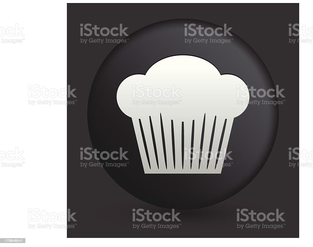 Cupcake Icon on Round Black Button Collection vector art illustration