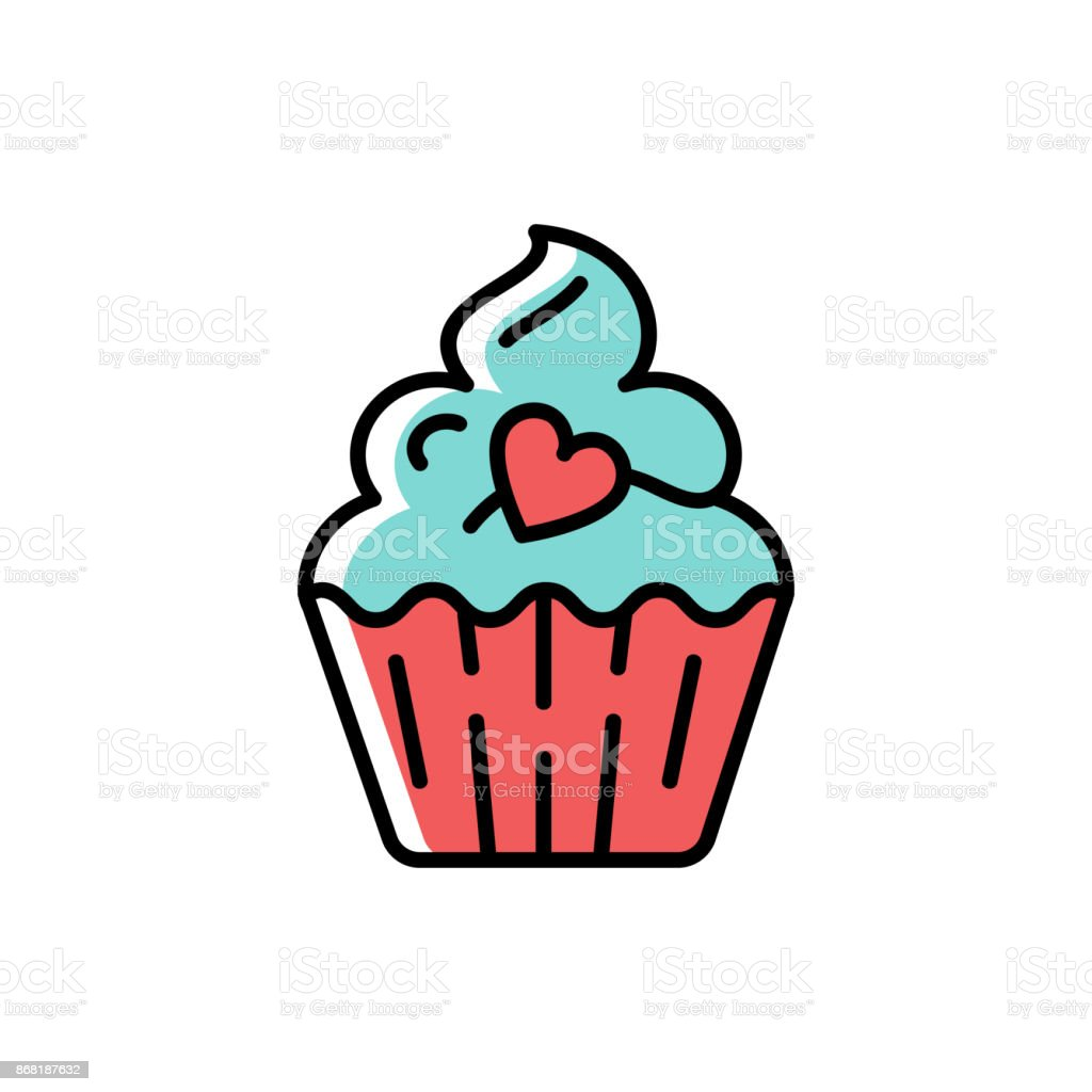 Cupcake Icon. Symbol of holiday and love, valentine's day. Line thin colorful birthday icon, Vector flat illustration