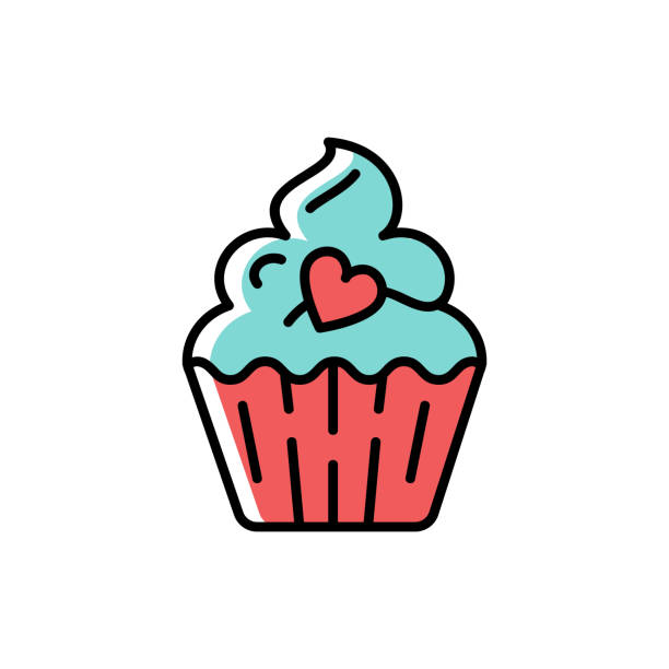 Cupcake Icon. Symbol of holiday and love, valentine's day. Line thin colorful birthday icon, Vector flat illustration Cupcake Icon. Symbol of holiday and love, valentine's day. Line thin colorful birthday icon, Vector flat illustration cupcake stock illustrations