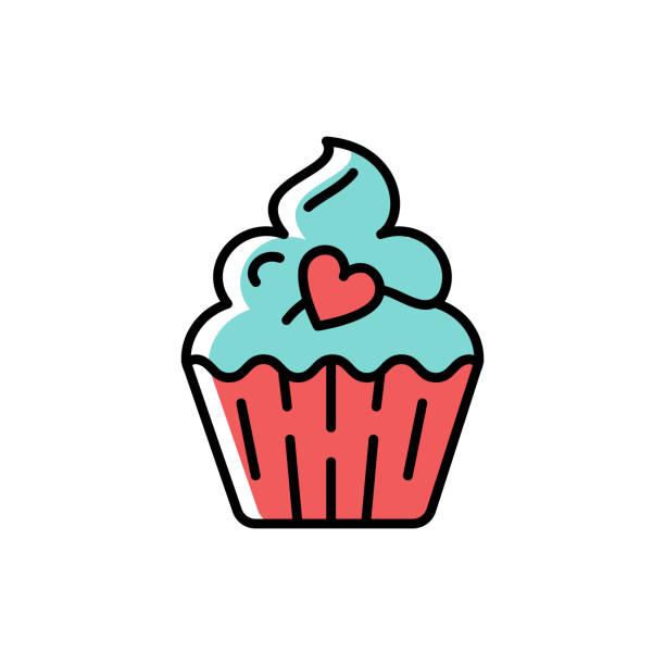 ilustrações de stock, clip art, desenhos animados e ícones de cupcake icon. symbol of holiday and love, valentine's day. line thin colorful birthday icon, vector flat illustration - bolinho