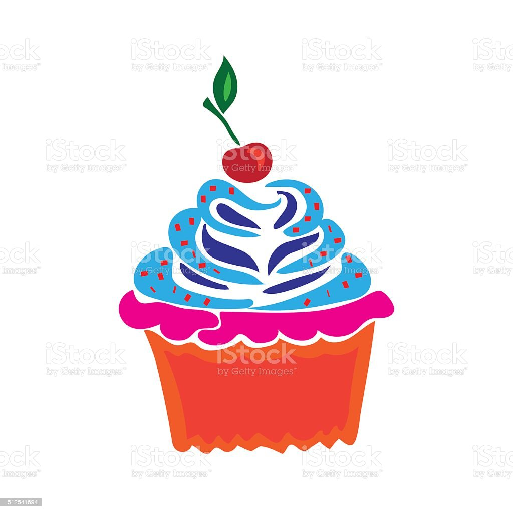 Cupcake in doodle style, flat vector illustration vector art illustration