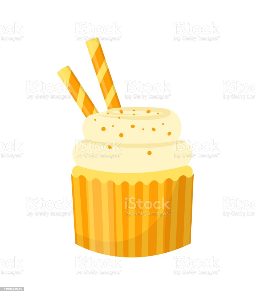 Cupcake. Isolated on white background. Vector illustration. - Royalty-free Baked stock vector
