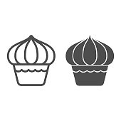 Cupcake line and solid icon, dessert concept, Muffin sign on white background, sweet creamy cupcake icon in outline style for mobile concept and web design. Vector graphics