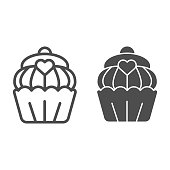 Cupcake line and solid icon. Muffin, sweet bakery dessert with heart symbol, outline style pictogram on white background. Bakery shop sign for mobile concept and web design. Vector graphics