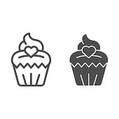 Cupcake line and solid icon. Muffin, sweet dessert bun with heart symbol, outline style pictogram on white background. Bakery shop sign for mobile concept and web design. Vector graphics