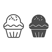 Cupcake line and solid icon. Pastry cake dessert, delicious sweet muffin symbol, outline style pictogram on white background. Bakery shop sign for mobile concept and web design. Vector graphics